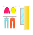 clothing store changing room vector image vector image
