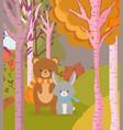 cute bear and rabbit animal forest hello autumn vector image