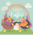 cute little girl with funny chickens happy easter vector image vector image