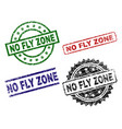 damaged textured no fly zone stamp seals vector image vector image