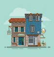 detailed hostel and bar building facade vector image vector image