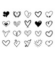 doodle love heart loving cute hand drawn sketched vector image vector image