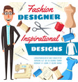 fashion designer man tailor or dressmaker vector image