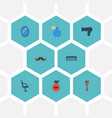 flat icons whiskers elbow chair comb and other vector image vector image