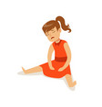 frustrated sad girl character on red dress sitting vector image vector image