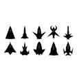futuristic spaceship silhouettes set vector image vector image