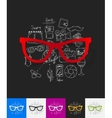 glasses paper sticker with hand drawn elements vector image