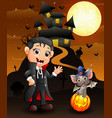halloween background with happy child bats and wit vector image