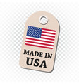 hang tag made in usa with flag on isolated vector image vector image