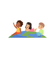 happy multicultural little kids having fun on top vector image vector image