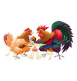 hen and rooster in a cafe vector image vector image