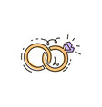 line icon two rings together wedding vector image