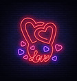 love symbol neon sign on theme of vector image