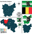 map of east flanders belgium vector image vector image