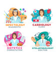 medicine icons with doctors vector image vector image