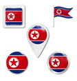 north korean scratched flag a north korean flag vector image vector image