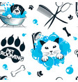pet grooming and washing seamless pattern vector image vector image