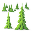 pine trees different size vector image