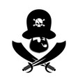 pirate logo head of buccaneer and sabers pirate vector image vector image