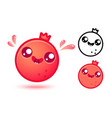 pomegranate in kawaii style vector image vector image