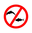 prohibition sign tuna dolphin fishing vector image vector image