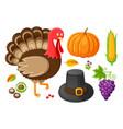 pumpkin and thanksgiving food plates set vector image vector image