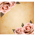 Retro background with beautiful pink roses with vector image vector image