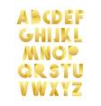 Retro font in gold Golden alphabet Realistic vector image vector image