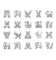 robot dog charcoal draw line icons set vector image