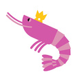 Royal shrimp in gold Crown Giant sea cancroid vector image