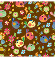 Seamless cartoon Background with color Birds vector image