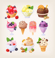 set colorful tasty isolated ice cream vector image vector image