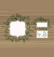 set of frame with laurel leafs wooden background vector image