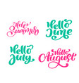 set of summer exotic calligraphy lettering phrases vector image vector image