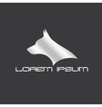 silver silhouette of doberman dog head vector image