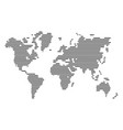striped gray world map on white background vector image