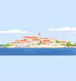 summer landscape beautiful coastal town vector image vector image