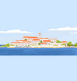 summer landscape beautiful coastal town with vector image