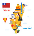 taiwan map with cultural symbols vector image