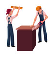 two construction workers builders - one measuring vector image vector image