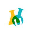 u letter lab laboratory glassware beaker logo icon