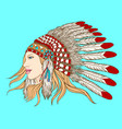 young pretty girl in indian chief headdress vector image vector image