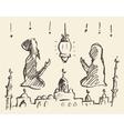Praying man woman ramadan draw vector image