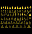 72 gold christmas trees set vector image vector image
