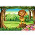 A scary lion above the stump at the forest vector image vector image