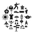 asia icons set simple style vector image