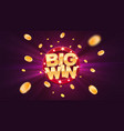 big win gold text on retro red board banner vector image vector image