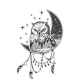 boho owl tattoo or t-shirt print design vector image