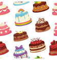 cakes and pies sweet desserts seamless pattern vector image
