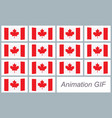 canada flag waving sprite sheet isolated on white vector image vector image